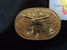 """Vintage Belt Buckle Crossed Pistols Floral Background 2.5"""" x 4"""" Silver Metal"""