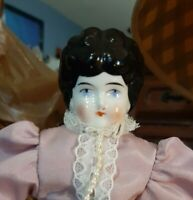 Antique 9 1/2 Inch China Head Doll In Pretty Lavender Dress