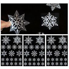 19/SET Reusable White Christmas Snowflake Window Stickers Self Clings XMAS Decor