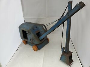 Structo Toys Vintage Steel Shovel Crane Blue, AS-IS, Ships Free