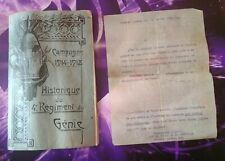 Historique Campagne 1914 1918 4e regiment du genie + Lettre commandant guerre