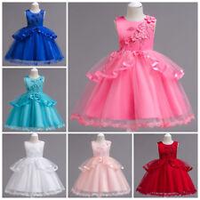 110-160 Festkleid Kinder Kleid Prinzessin Blumen Mädchen Hochzeit Stickerei Rosa