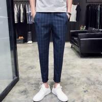 Mens Plaid Pattern Skinny Slim Fit Striped Formal Party Trouser British Pants