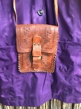 Vintage Retro WAREHOUSE Hippy Boho leather carved shoulder bag