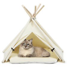 Petsjoy Pet Teepee Dog Puppy Cat Bed Portable Canvas Tent & House w/ Cushion
