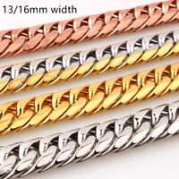 13/16mm Cool Men's Chain 316L Stainless Steel CURB CUBAN Link Necklace Bracelet