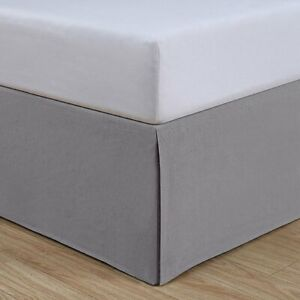 "Cal King Gray bedskirt split corners cotton linen vintage washed 72""Wx 84""L NEW"