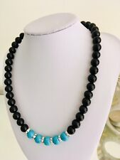 Black Glass Pearls Necklace / Blue Turquoise Gemstones Round Beads Lobster Clasp