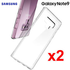 x2 Samsung Galaxy Note 9 TPU Transparent Clear Bumper Cushion Back Case Cover