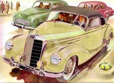 MERCEDES TYPE 220 VINTAGE ADVERTISING ART PRINT - FREE UK P&P