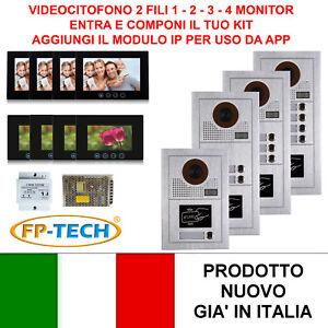 VIDEOCITOFONO 2 FILI 1 2 3 4 MONITOR LCD TOUCH FAMILIARE CONDOMINIALE TELECAMERA