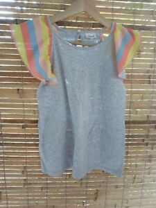 Seed Heritage Girls Tee Top Size 10 Grey Rainbow Flutter Sleeves