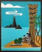 Clee Sobieski Painting Hawaiian Hula Girl Tiki Halloween Skeleton Tropical Retro