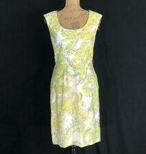 Antonio Melani 4 Dress White Green Yellow Taupe Watercolor Sheath Small