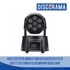 LUCE LED TESTA MOBILE DA DISCOTECA FESTE LUCI 7 LED 150W CLUB MOVING HEAD LIGHT