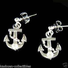 ~Anchor~~ Nautical w Swarovski Crystal Rhinestone Yacht Stud Stick Earrings Xmas
