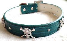 Diamonte Calavera Huesos Cruzados espárragos Mascota Collar Collar de perro de M-L 02 Verde Oscuro