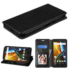 For Motorola Moto G4/ G4 PLUS Leather Flip Wallet Case Cover Stand BLACK Pouch