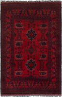 "Hand-knotted Carpet 3'2"" x 4'11"" Bordered, Geometric, Tribal Wool Rug"