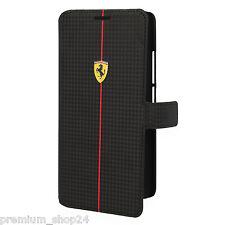 FERRARI Formula ONE BOOK CASE HANDYTASCHE für HTC ONE MAX T6 Carbon in Schwarz