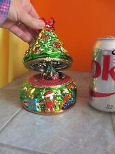 MR CHRISTMAS Animated Musical CHRISTMAS TREE Hinged TRINKET Box with TRAIN