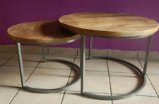 Table Coffee Round Metal Nesting Sofa Silver Grey 2er Mango Wood