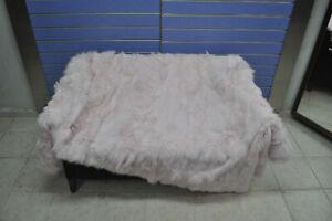 Luxury Pink Fox Fur Throw Real Red Fox Fur Blanket / Bedspread