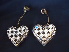 Set of 2 Gold Tone Heart With Mirror Pieces Valentines & Christmas Ornament