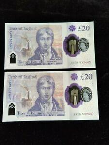 PAIR AA39-532447/3 POLYMER £20 TWENTY POUND NOTES  Sarah John 🇬🇧