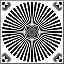 Aufkleber 30cm Siemensstern Weißabgleich Graukarte Fadenkreuz Fokus Test Chart