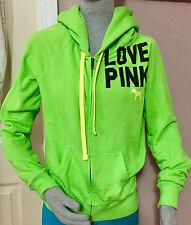 Victoria's Secret LOVEPINK Green Full FrontZip  2 FrontPockets Hoodie Jacket S/P