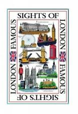 Sights of London Tea Towel Souvenir Gift Landmarks Scenes UK Collage GB White