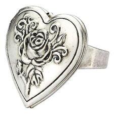 Heart Shaped Tin Alloy Rose Locket Adjustable Ring - Vintage Kitsch Jewellery