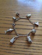 Vintage Plata pulsera con dijes 8 encantos