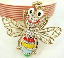 Rhinestone Crystal Smiling Bee Car Pendant Keyring Keychain Cute Gift ♫