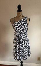Tart One Shoulder Tribal Leopard Print Gray and White Dress Medium