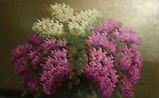 Vintage oil painting still life with lilac flowers