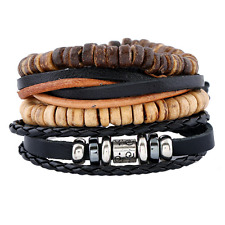 Coconut Shell Beads Alloy Leather Multilayer Bracelet Cuff Bangle Wristband Set