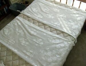 """6 Panels Vintage Linen & Lace Curtains (56"""" Wide by 60"""" Long) in Excellent Cond."""
