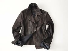 John Varvatos Collection Asymmetrical Leather Biker Jacket, Rustic Brown, 48
