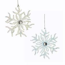Plastic Glitter Coral Snowflake Ornaments, 5-1/2-Inch, 2-Piece
