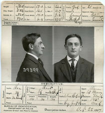 1907, ORIGINAL crime mugshot and card, Gabriel Hughes, burglary, CHICAGO PD