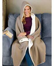 "Warm Hooded Fleece and Sherpa Throw Blanket Burgundy or Tan 50"" X 70"" Soft Cozy"