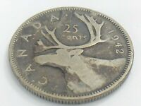 1942 Canada Twenty Five 25 Cent Quarter Canadian Circulated George VI Coin J793
