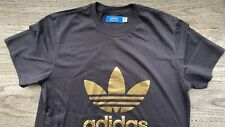 Adidas T-shirt Men, Gold Foil Logo Over Black, Size L