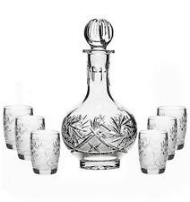 Russian Cut Crystal Glass Decanter 16 oz and Set of 6 Vodka Liqueur Shot Glasses