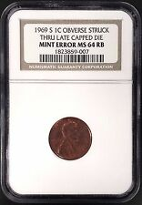 1969 S Lincoln Cent, Obv. Struck Thru, Late Capped Die, NGC Mint Error MS 64 RB!