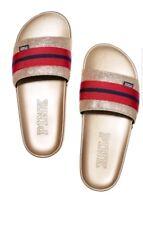 Victorias Secret Pink Slides Sandals Gold Red Size L NWT