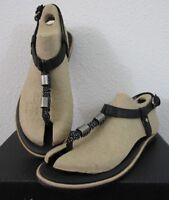 NIB Womens Sorel Ella T Strap Flat Fashion Modern Leather Summer Sandals - Black