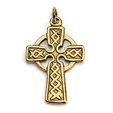 Celtic Cross Irish Charm Pendant #14K Gold Plated Sterling Silver #Azaggi P0039G